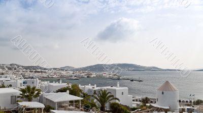 Mykonos port panorama