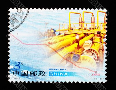 CHINA - CIRCA 2005: A Stamp printed in China shows West-East natural gas transmission project, circa 2005