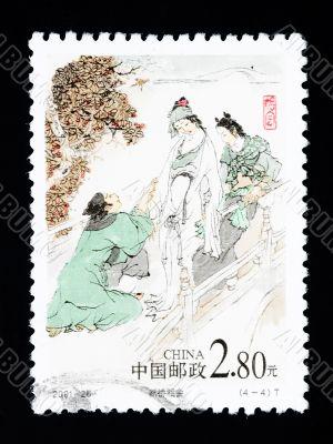 CHINA - CIRCA 2001: A Stamp printed in China shows a historic love story , circa 2001