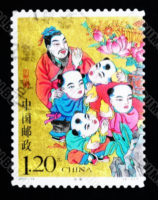 CHINA - CIRCA 2007: A Stamp printed in China shows a historic story of sharing pears, circa 2007