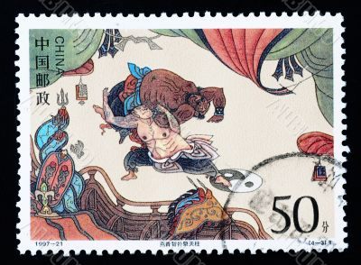 CHINA - CIRCA 1997: A Stamp printed in China shows The Story by the Water Margin  , circa 1997