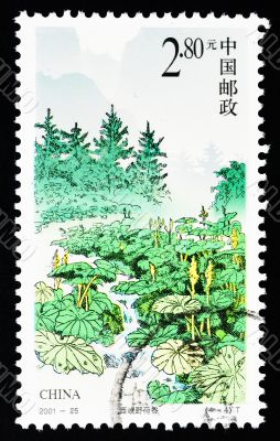 CHINA - CIRCA 2001: A Stamp printed in China shows the Wild lotus canyon, circa 2001