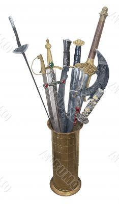 Assorted Swords in a Brass Stand