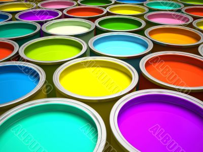 Banks of multicolored paint 3D rendering