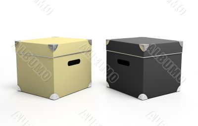 Black and white cardboard boxes isolated on background