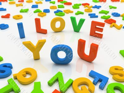 Colourful letters isolated on white background I love you