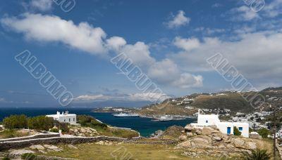 Mykonos new port panorama