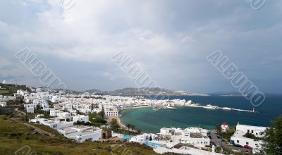 Mykonos city and port view