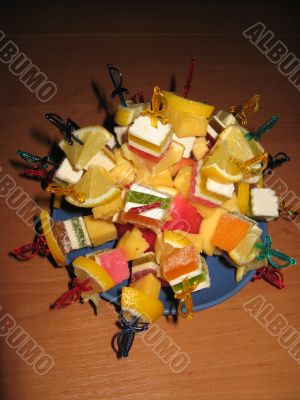 Multi-coloured dessert from fruit candy