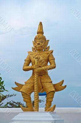 Golden statue of warrior