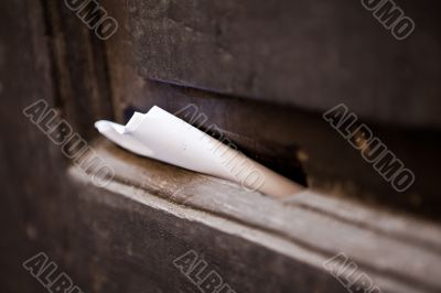 Letter in old mail slot