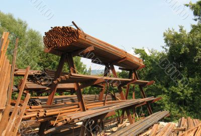 rusty metal constructions  on the open stock