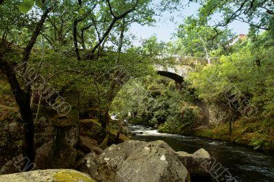 Segade Bridge and Umia River, Caldas de Reis, Spain