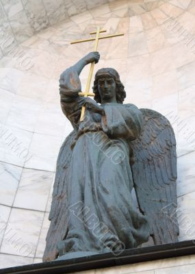 The statue of St. John the Warrior at the entrance of the Church