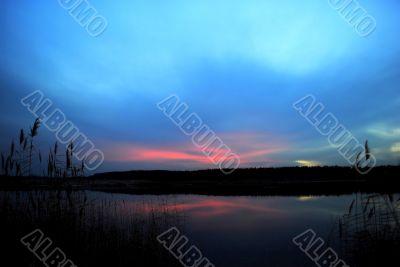 Polar lights over the lake