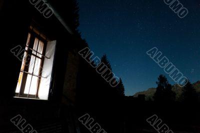 Chalet starry night