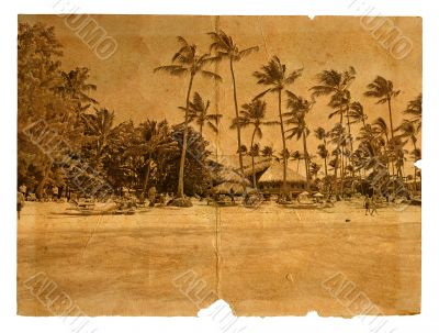 Rest on the beach. The postcard, in a stylized retro style. Isol