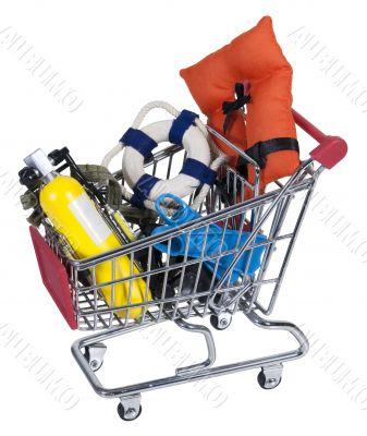 Shopping Cart full of Water Sport Equipment