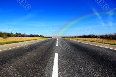Summer landscape with road and sky