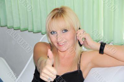 Woman show thumb upwards