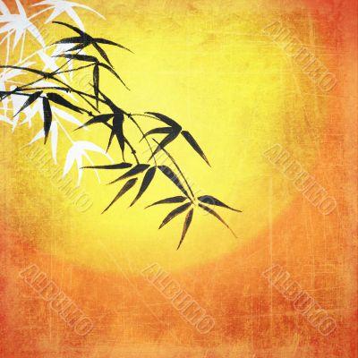 Vintage background with leaves of bamboo