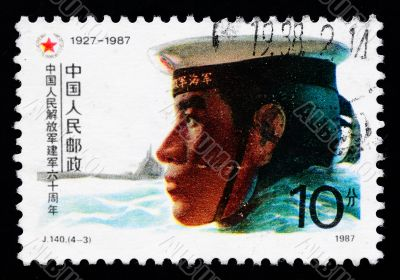 A stamp printed in China shows the 60th anniversary of Chinese army