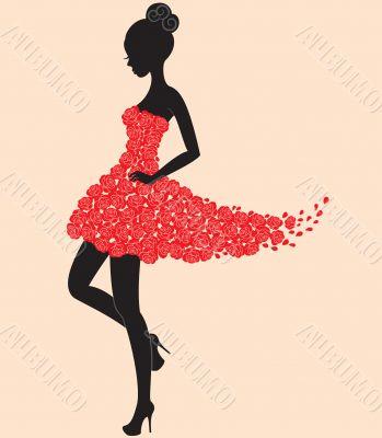 Dancer girl in dress of roses