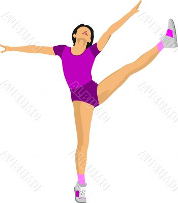 Woman practicing Yoga exercises. Vector Illustration of girl in