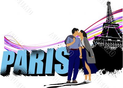 3D word Paris on the Eiffel tower grunge background with kissing