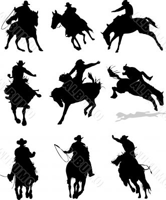 Horse rodeo silhouettes. Vector illustration