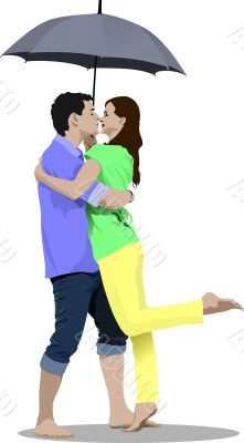 Kissing Couple with umbrella vector illustration