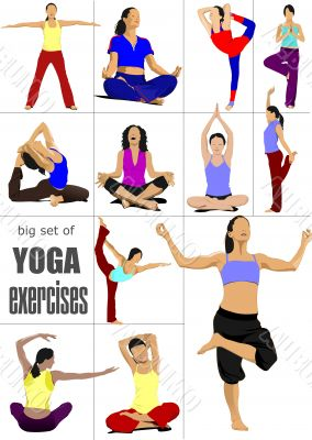 Big set of Yoga exercises - vector poster