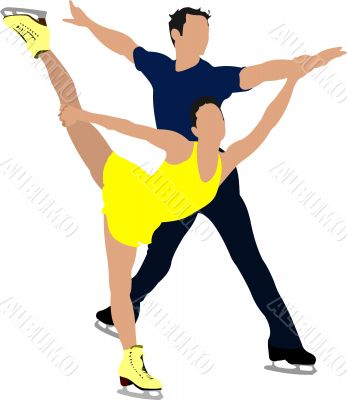 Couple Figure skating colored silhouettes. Vector illustration