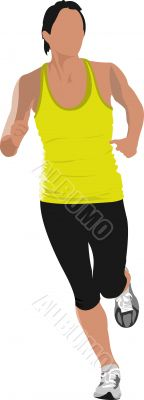 The running men. Jogging. Vector illustration