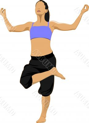 Woman practicing Yoga excercise. Vector Illustration of girl in