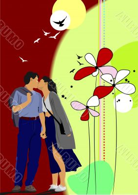 Flower  background with kissing couple. Vector illustration