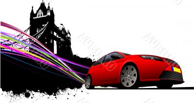 London on Tower bridge and red car coupe images. Vector illustra