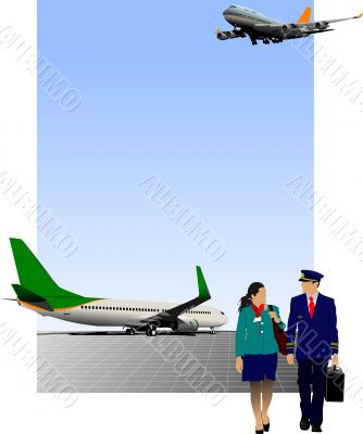 Airport scene. Vector illustration for designers