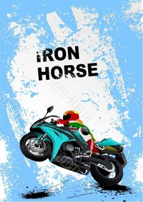 Grunge blue background with motorcycle image. Iron horse. Vector