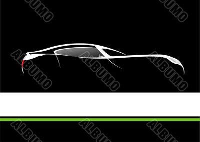 White silhouette of car on black background. Vector illustration