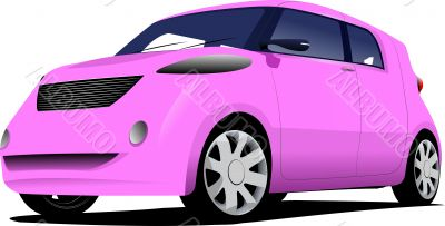 Pink  car sedan on the road. Vector illustration