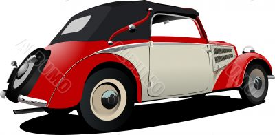 Red-white 50-years car cabriolet on the road. Vector illustratio