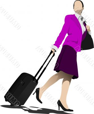 Business man with suitcase. Stewardess. Vector illustration