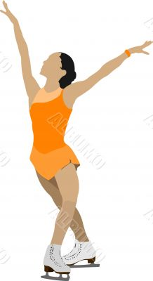 Woman Figure skating colored silhouette. Vector illustration