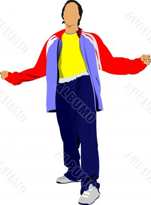 Young man in a tracksuit. Vector illustration on white backgroun