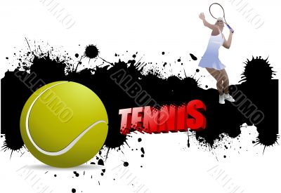 Grunge tennis poster with tennis ball and player. Vector illustr