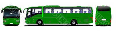 City bus. Tourist coach. Frontal, rear, side view. Vector illust