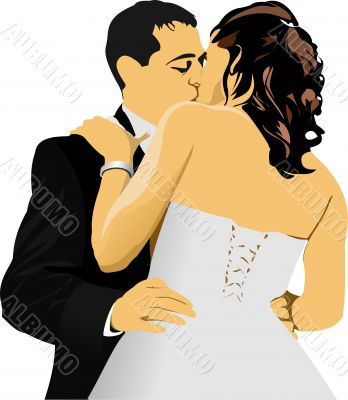 Kissing Couple. Bride and Groom. vector illustration