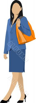 Business woman. Colored Vector illustration