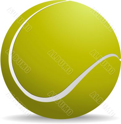 Yellow-green tennis ball on white isolated background. Vector il
